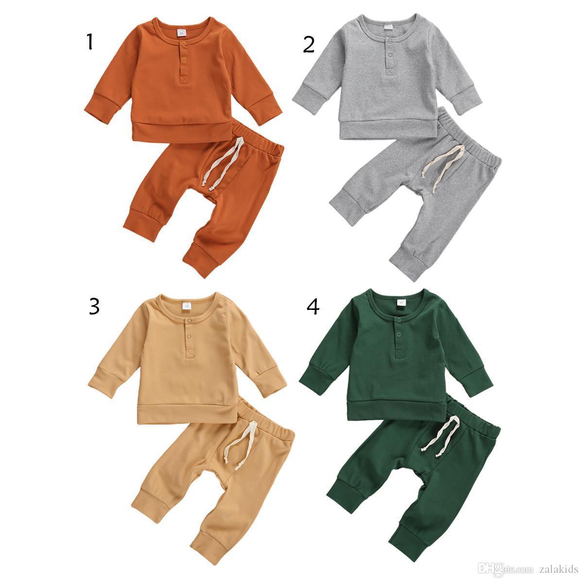 İlkbahar Sonbahar Kız Bebek Giyim Katı Kızlar Pants 2PCS Setleri Bebek Kız Giyim Tops Seti Butik Bebek Giyim