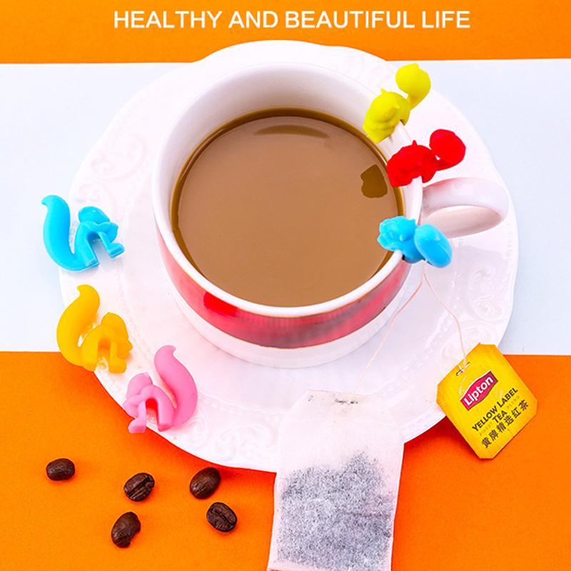 Carino Forma lumaca Squirrel Holder bustina di tè del silicone della tazza della tazza di tè Candy Bag clip di colori Gift Set buon Tè Strumenti tè infuser 5 colori Z270