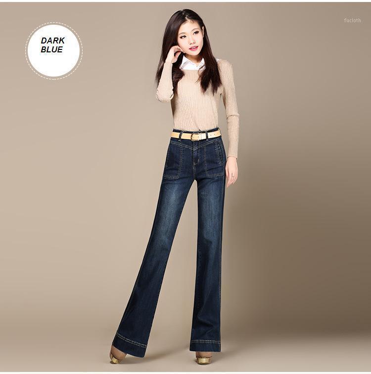 Бесплатная доставка Высокое качество плюс размер женские ботинки вырезать джинсы леди мода высокая талия широкая нога джинсовые брюки вспышки брюки1
