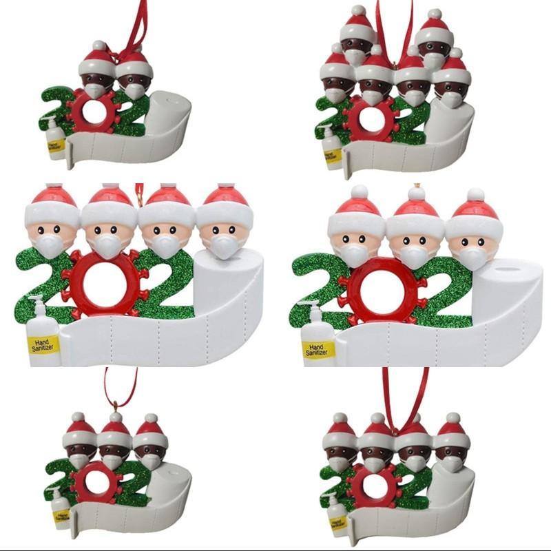 DIY Family Ornaments Resin Pendant 2020 Merry Christmas Snowman Mask Decorations Xmas Tree Cartoon Charm Hangings 10 5hm G2