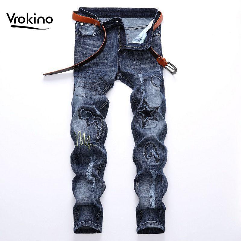Vrokino New In2020 Design dos homens jeans bordados de moda luz de moda azul jeans slim buraco trecho marca homens 38 40 42