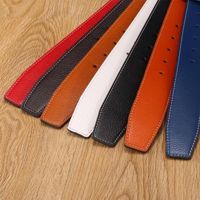 7 colori di alta qualità Uomini pelle Cinture maschile cinture nessun inarcamento per le donne H Buckle due lati femminili due cinghie con fori