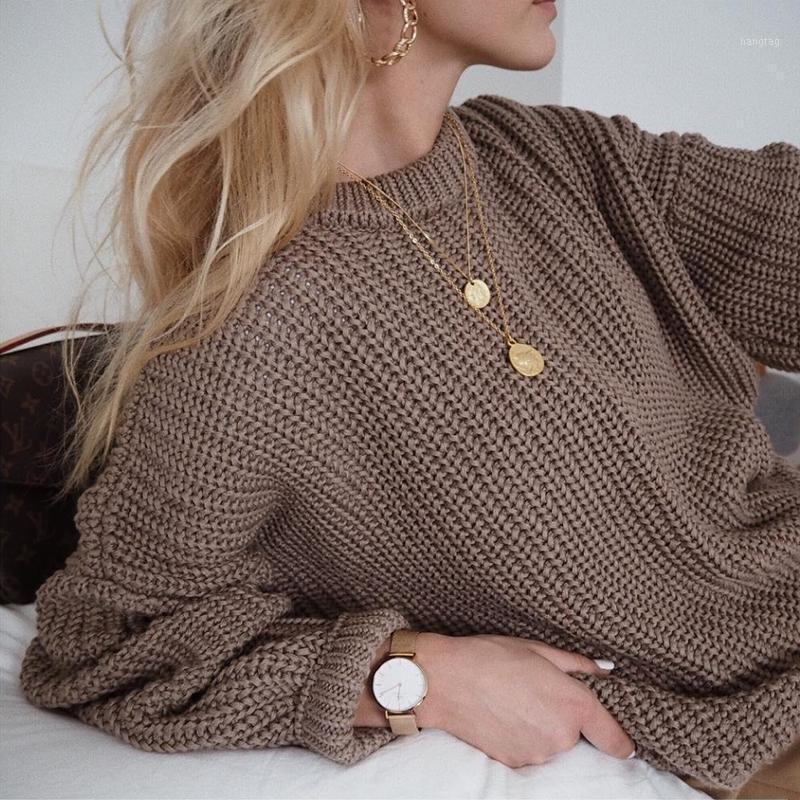 Mujeres suéter elegante sólido O-cuello de punto suéter jersey 2020 otoño invierno suelto de gran tamaño manga larga jumper1