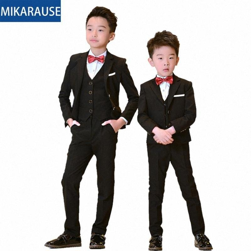 5pcs Kids Boys Trajes Black Blazers Formal Boda TUXEDOS Escuela adolescente Partido Partido Fashion Flower Boy Blazer Traje para Boy Lv0D #