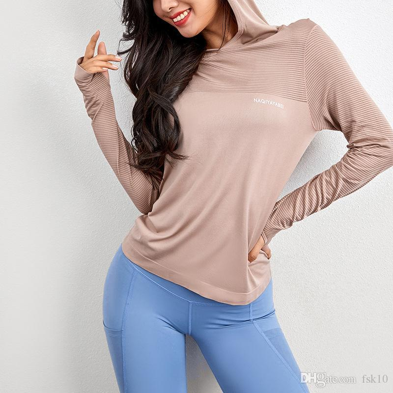 С капюшоном Yoga Top с длинным рукавом Спортивные рубашки женщин с длинным рукавом рубашки Бег Фитнес Свободные футболки Повседневный Quick Dry Running Top
