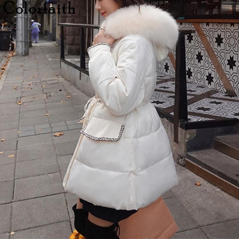 Quente Colorfaith New Outono Inverno Mulheres casacos acolchoados soprador Parkas de alta qualidade com cordão Oversize doce CO833 Brasão 201015