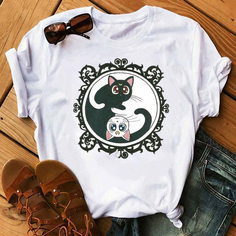 Сейлор луна 90-х годов Смешная футболка Harajuku Женщины футболка эстетическая кошка аниме женщина милая женская футболка Kawaii Tees мода Ullzang