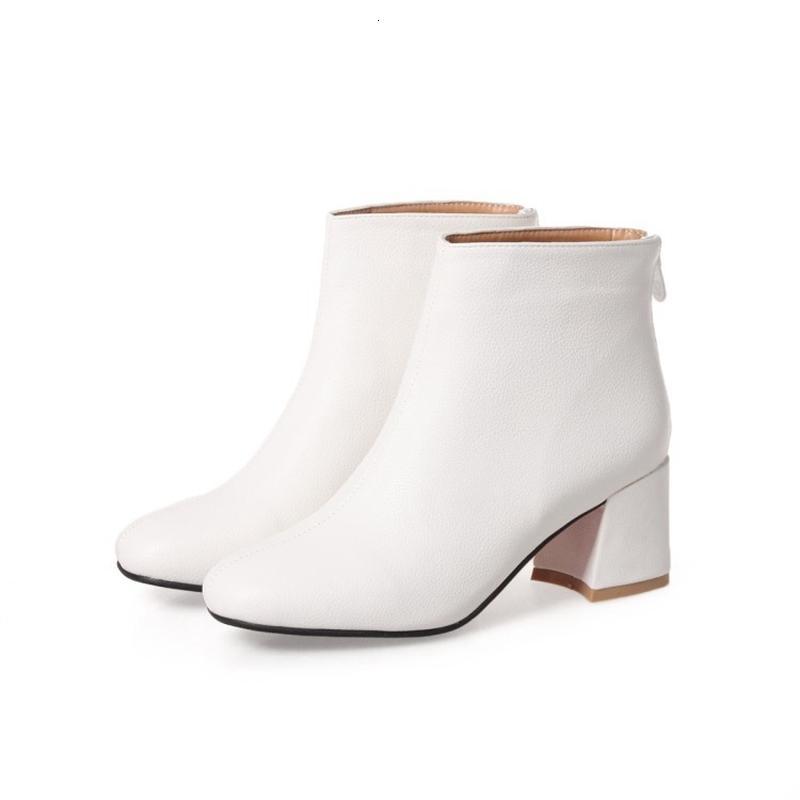 الكعوب الخريف الشتاء سميكة العليا زيبر مثير للمرأة أحذية الأنثى SquareToe فو جلد أبيض حجم الكاحل الحذاء الكبير 32-46 17-24