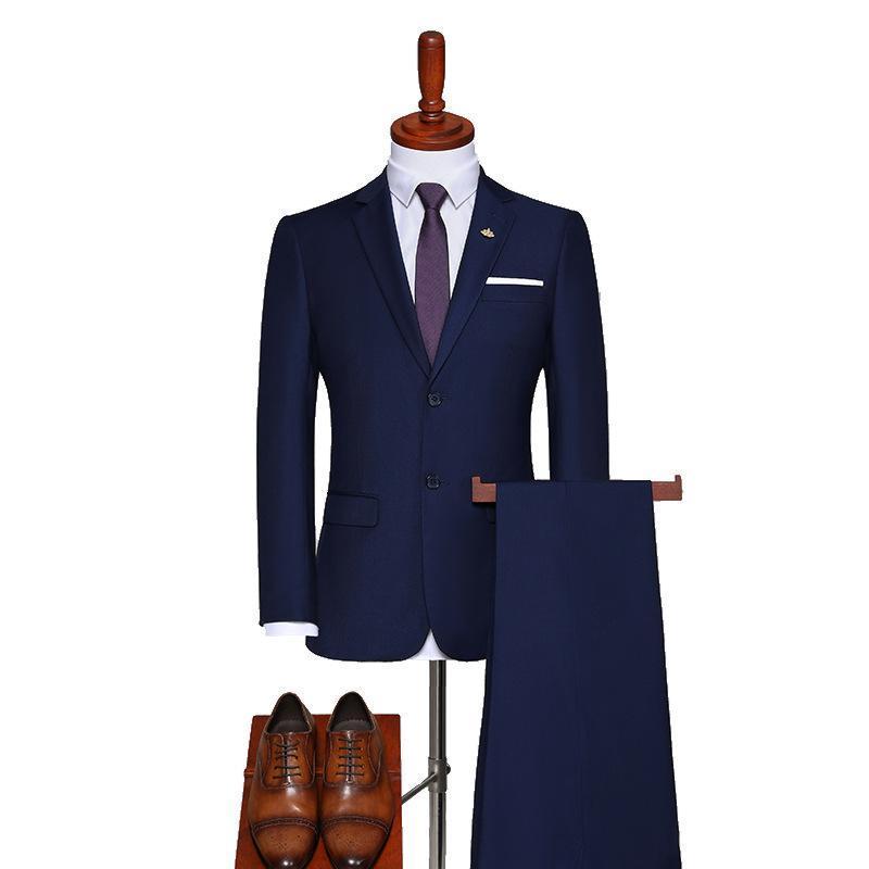 Herrenanzug Solid Color Slim Fit Herren Anzug Zweiteiliger Jacke + Hosen Business Casual Professional Wear Terno Masculino