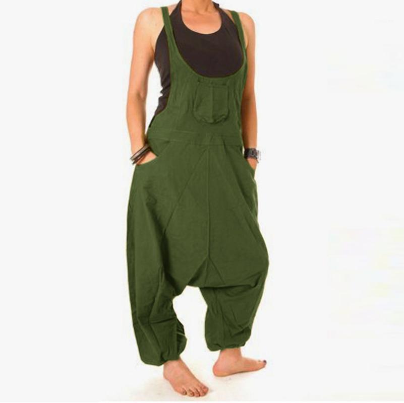 Mujeres Baggy Sumpsuits Ladies Pantalones de babero Harem Mono Mono Múnmeres Motos Muy Tamaño Onesies Mono casual Juggers de tiras Leotard1