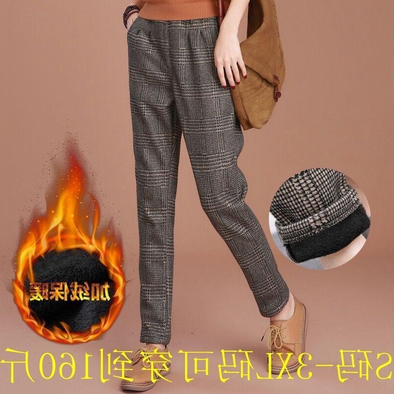 Primavera e outono inverno pelúcia mulheres térmicas desgaste coreano solta grande xadrez de lã casual pequeno pé harem pantsgood6 v2