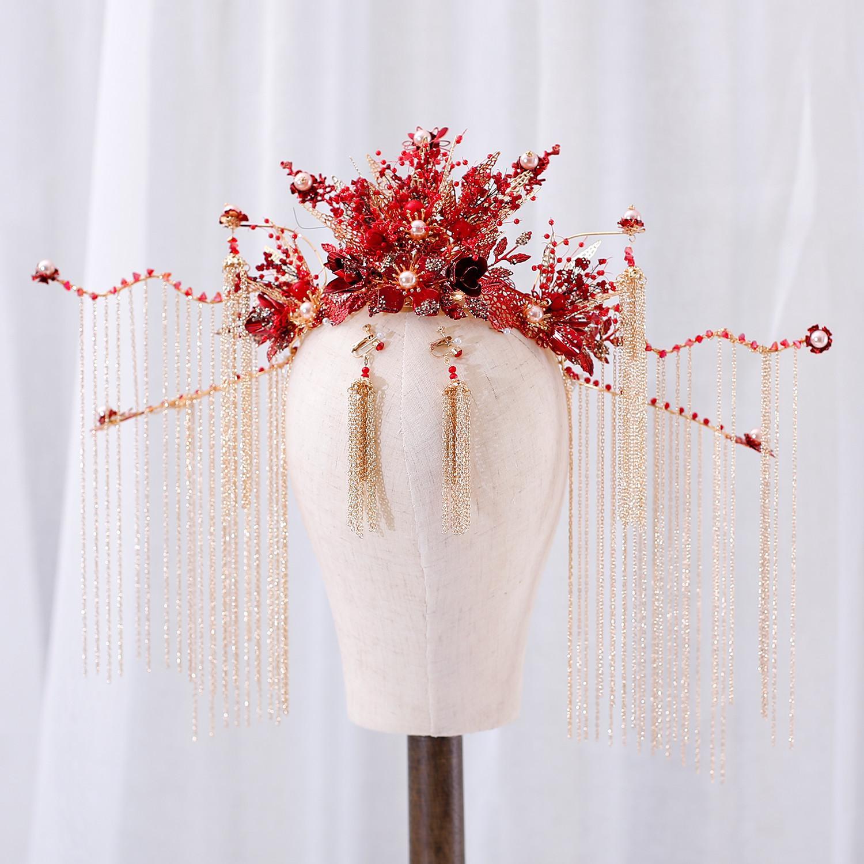 Невеста свадебный головной убор атмосфера красные украшения для волос роскошь Феникс корону кисточкой тост платье шоу Wo костюм аксессуары