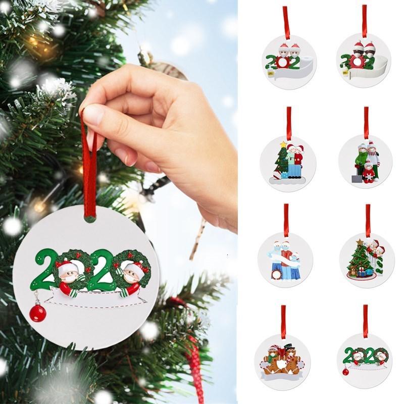 PVC 2020 cuarentena Navidad de la familia de las decoraciones 1 2 3 4 5 6 7 muñeco de nieve Ornamento del regalo de pandemia de Mascarillas desinfectante de la mano