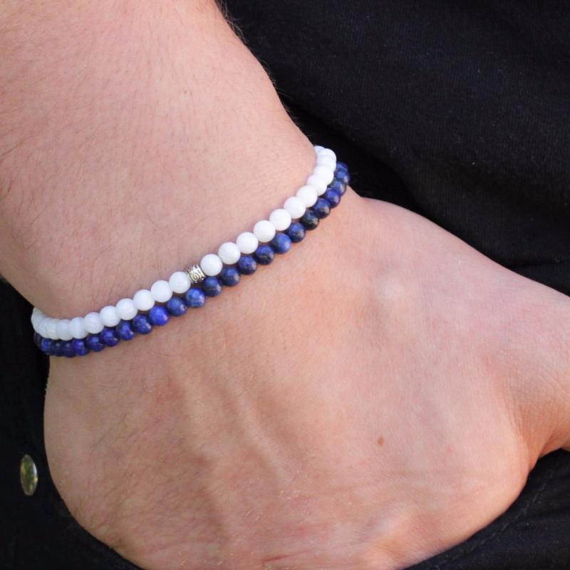 Бисероплетенные, пряди мода мужской браслет лазурительный набор мужских браслетов Lapis Lazuli Whiteagate 4mm бусины парень подарок