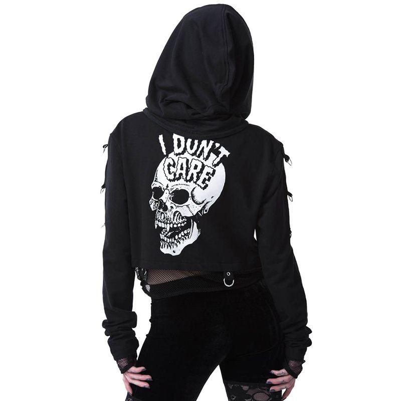Aprilgrass Frauen Sweatshirts geerntete Pullover Gothic Schädel druckte Schwarz lose kurze Pullover Mesh-Patchwork Frauen Streetwear mit Kapuze