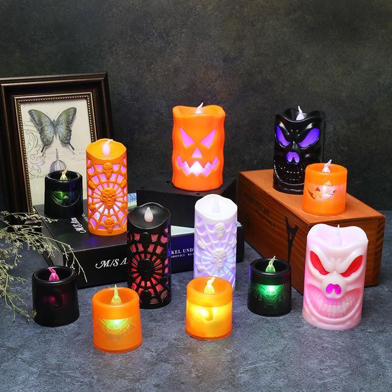 Хэллоуин партии украшения светодиодные свечи светящиеся тыквенные свечи фонарь Halloweens одеваются реквизит летучая мышь и скелет 12 стиль hxd23992