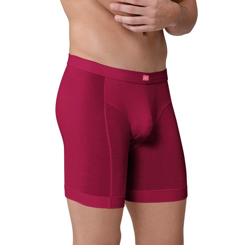 Män mode elastiska sexiga modala andningsbara sport ridning boxare underkläder manlig ultra lång termisk kropp formning boxare shorts underkläder