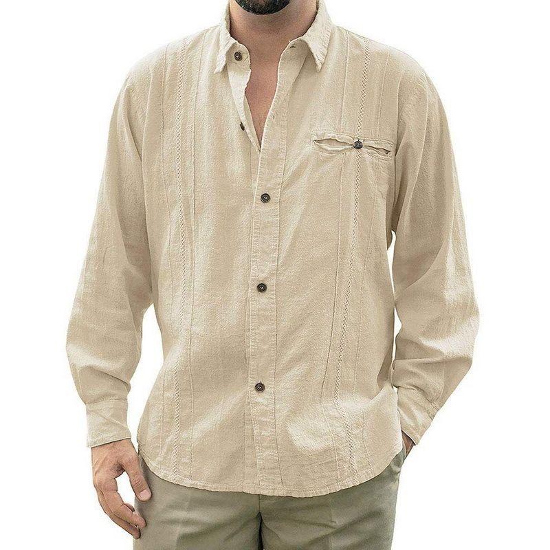 2020 رجل فضفاض صالح كوبا مخيم guayabera الكتان طويلة الأكمام soild قمصان عارضة زر أسفل شاطئ تنفس قميص LJ200928