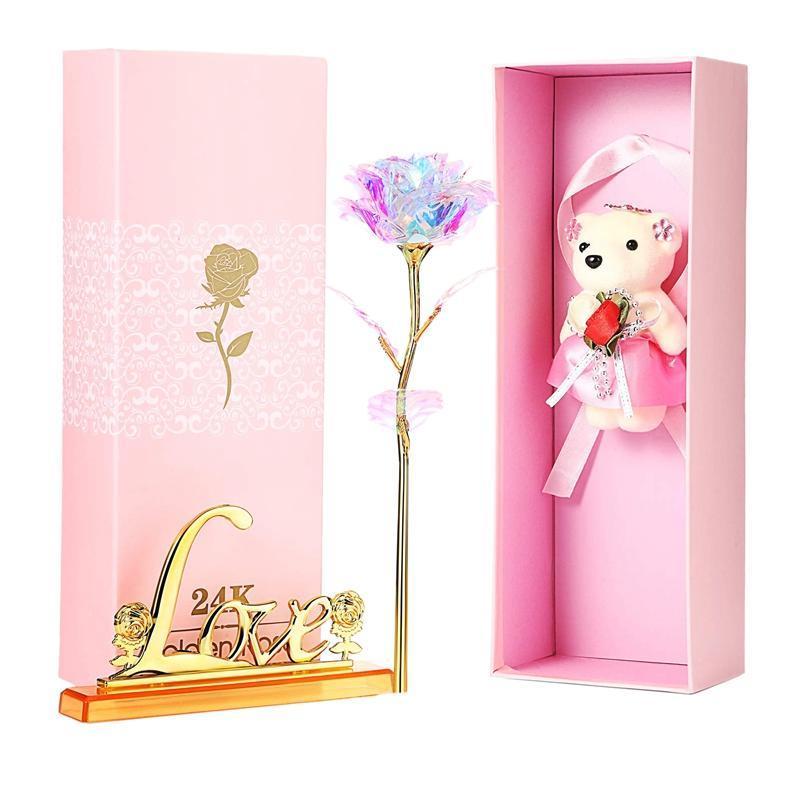 Colory Cristal Galaxy Lumière, artificielle Rose Flower Bear dure pour toujours, Festival Wedding Bearluxury Cadeaux Fournitures