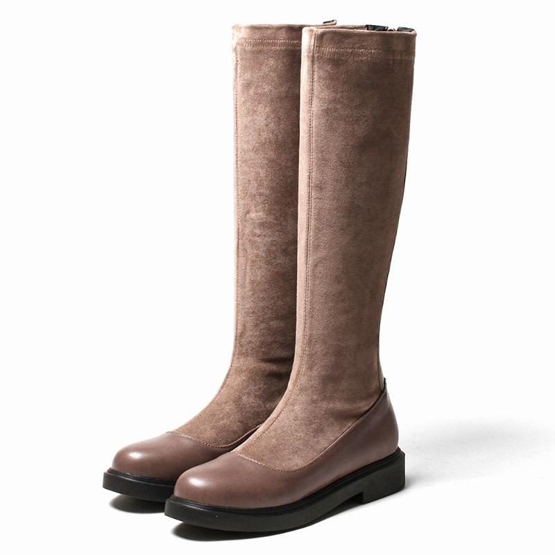 Düz Topuk Stretch PU Dikiş Flock Diz Boyu Çizme, Geri Fermuar Düşük Topuk Sıcak Kış Yuvarlak Burun Kısa Peluş Moda Çizme