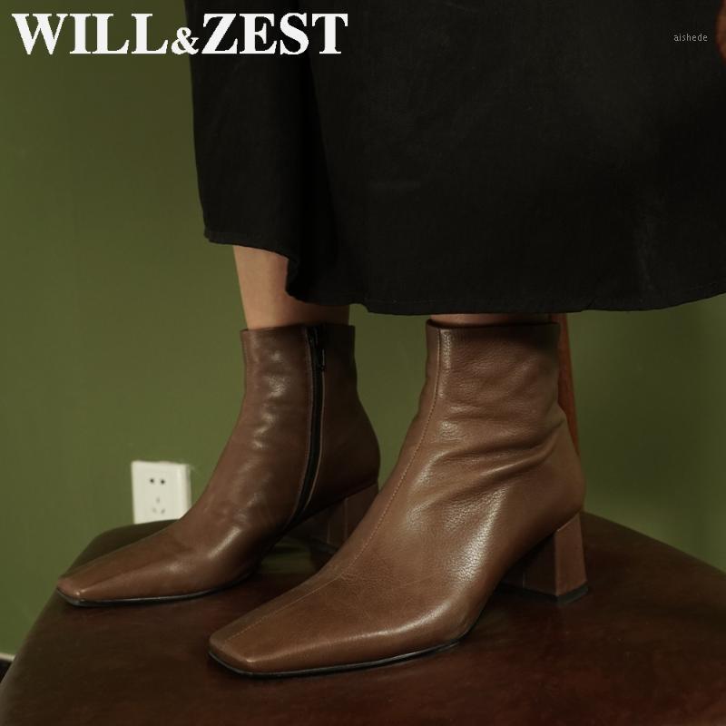 Stivali Willzest Women Short 2021 in pelle Black Western High Tacchi alti Pelliccia Chunky Inverno Stivaletti bianchi all'ingrosso Fashion1