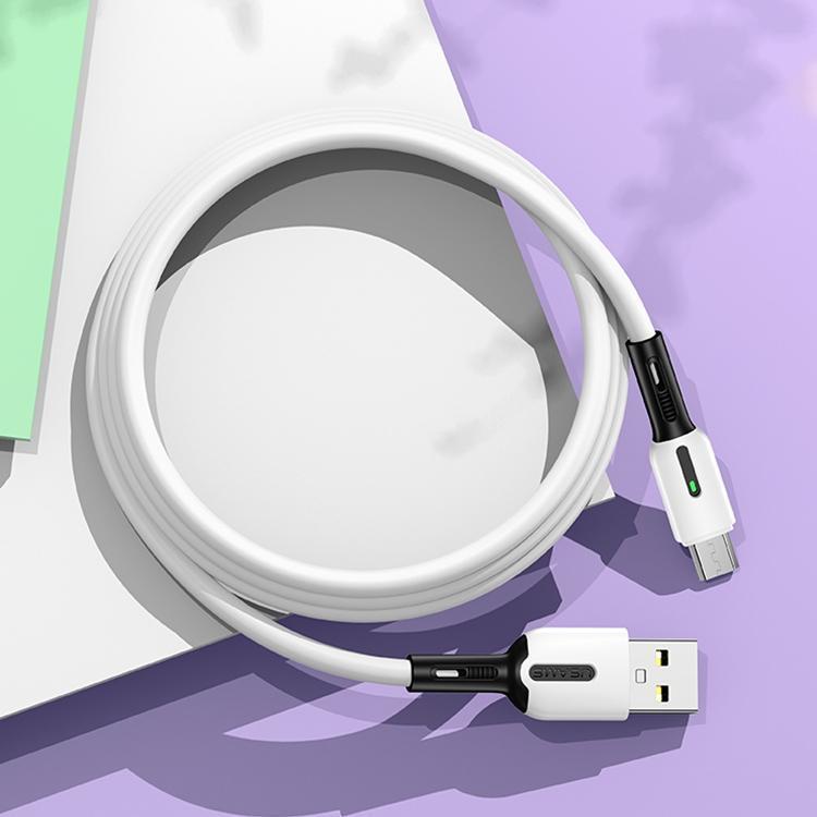 USAMS US-SJ432 U51 Micro USB Câble USB en silicone avec la lumière Longueur du câble 1m