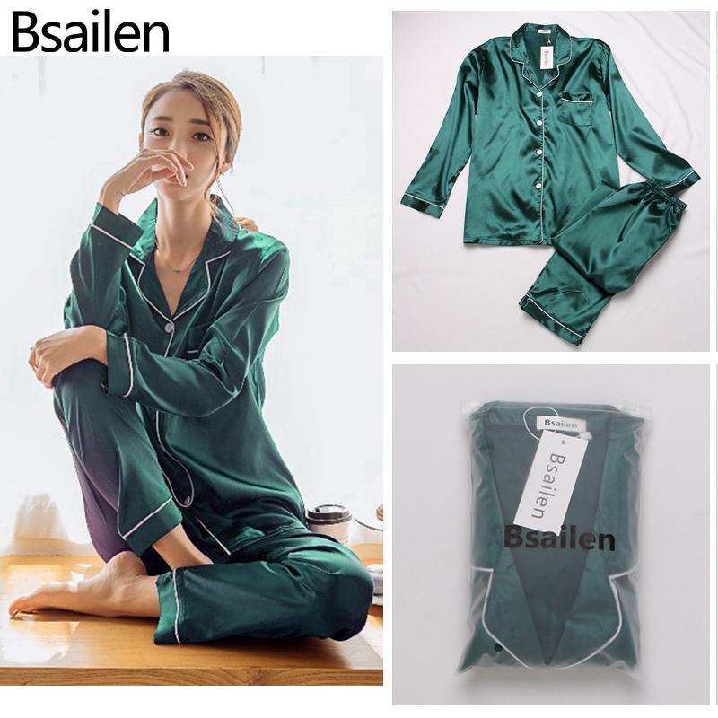 Pigiama di Bsailen 2 pezzi Donne autunnali Donne Sleepwear Faux Silk Satin Pigiama Set Set manica lunga Sleepwear Pigiama Suit Femmina Homewear C1114