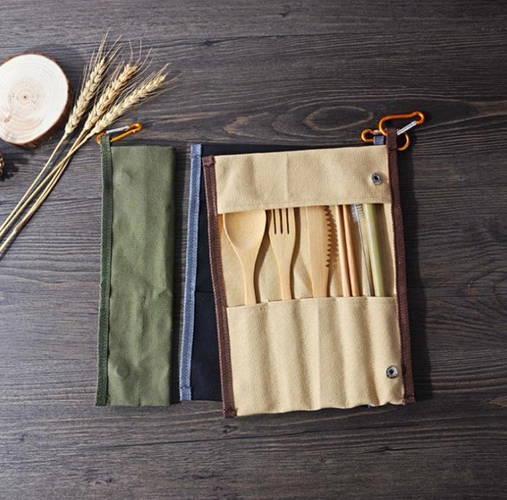Conjunto de talheres portáteis conjunto de talheres de bambu faca faca garfo colher palha para despensa de viagem ao ar livre conjunto com bolsa de embalagem de lona nice presente sn1914