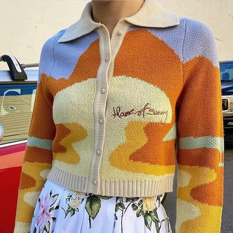 Cardigan manga sola Carta de pecho bordado recortada mujeres otoño largo de Harajuku de punto gira el collar abajo capa del suéter 2020