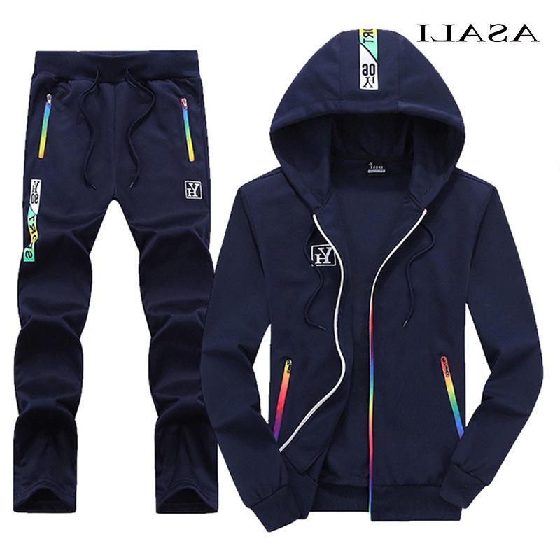 Asali Capuz Tracksuit Homens Outono Casual Mens Outwear Jaqueta Zipper + Calças 2 Parte Sets Sportswear Jogging Homme 4xl