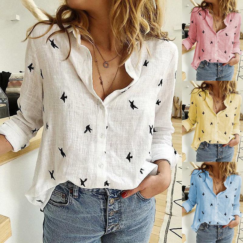 Chemises à imprimer des oiseaux Femmes 35% coton à manches longues femelles Tops 2020 Spring Summer Office Casual Bureau Shirt Plus Taille 5XL Y200623
