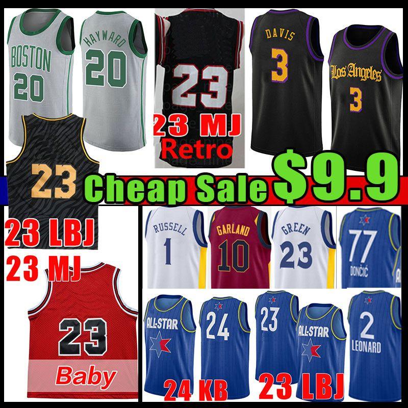 23 hommes Baby Basketball Jersey Luka 77 d'Angelo Gordon Russell Doncic Kawhi Hayward Anthony 3 Davis Leonard Lonzo Draymond Garland Green Ball Vert