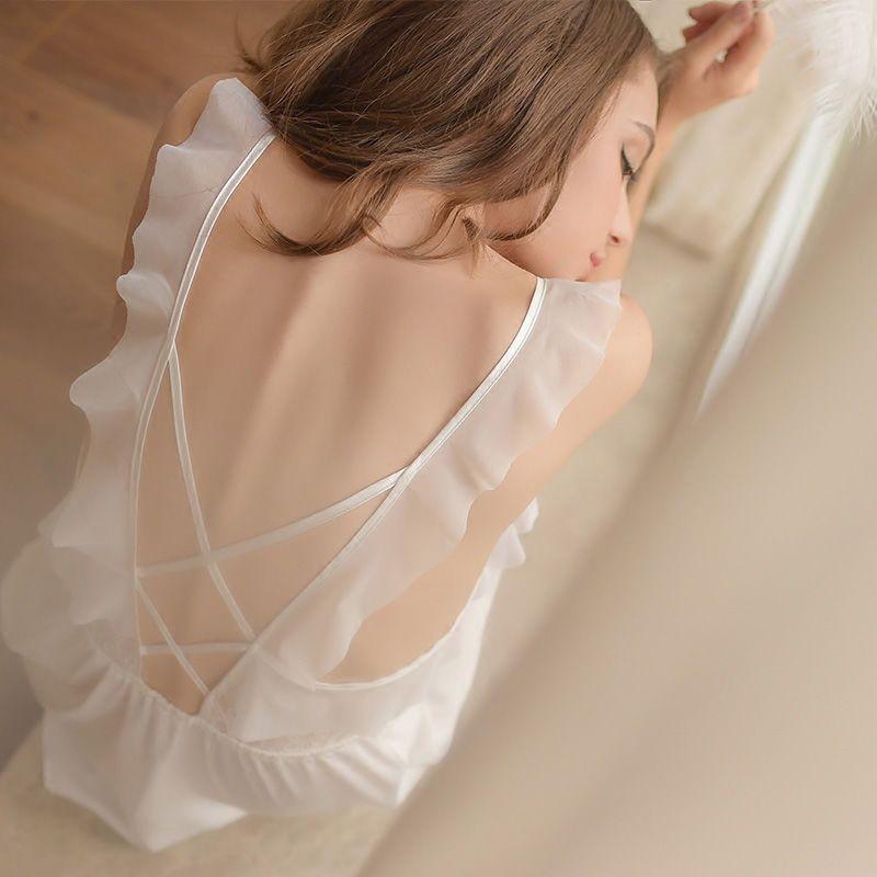 Горячий стиль Белье для женщин плюс размере распутной Одежды Прозрачного сетки Baby Doll платье Эротической Глубокого V шея Кружево пижама Белая Черный