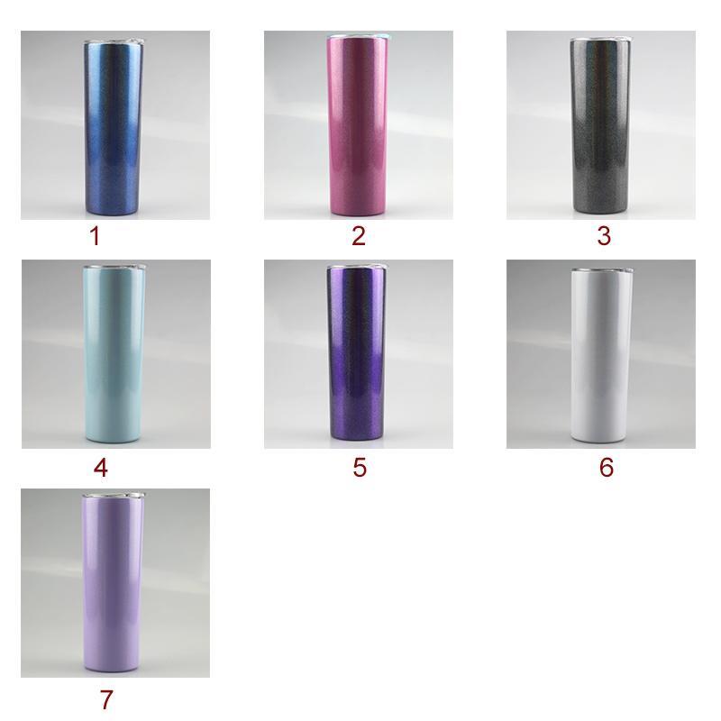 2020 20 once Arcobaleno Stampa Bottiglia di sublimazione Skinny i bicchieri con paglia doppio dell'acciaio inossidabile isolato Slim vuoto Tazze di caffè latte tazze A12