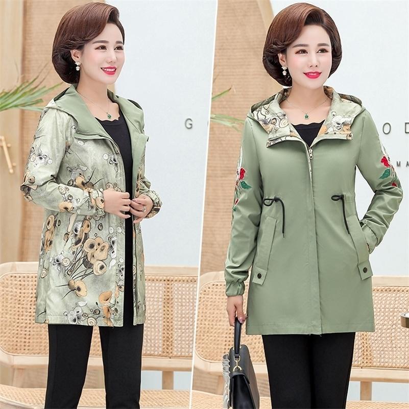 Kadın Ceket İki Yan Giyim Kadın Ceket Yeni Sonbahar Embornery Coat Artı Boyutu Kapşonlu Windbreak Fermuar Ceket Kabanlar Pocket 201017