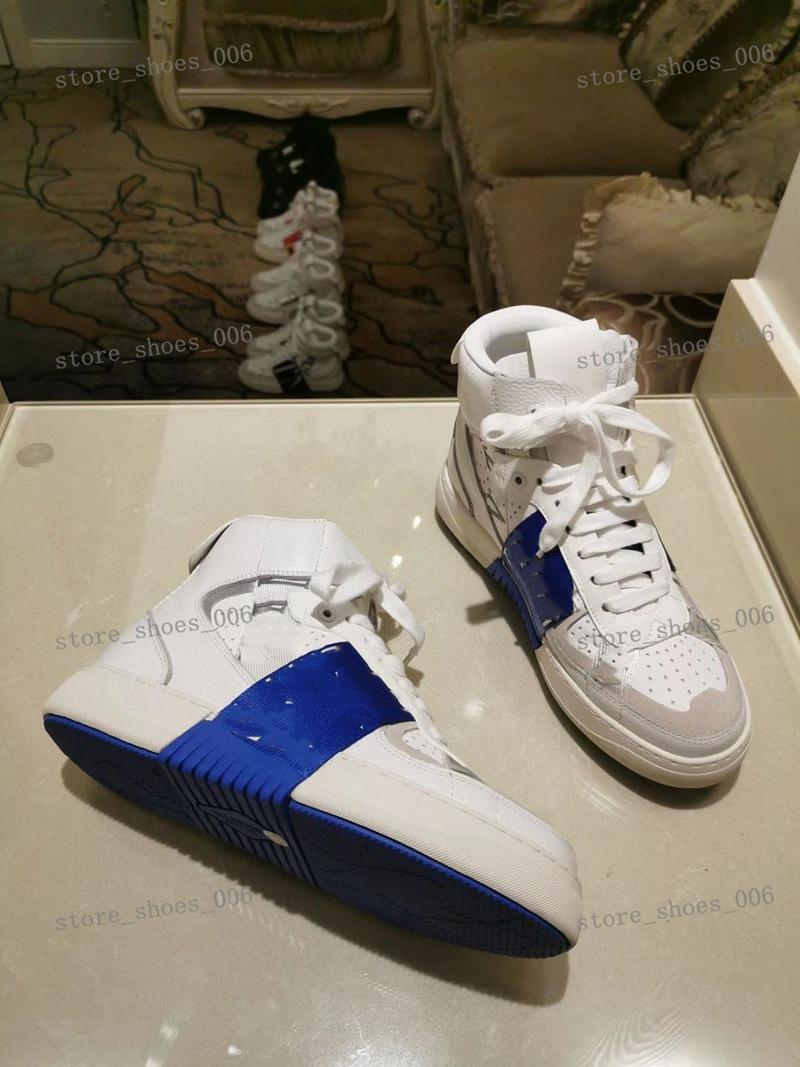 Valentino shoes de becerro con marca, zapatillas de deporte con tachuelas planas, entrenadores de pantuflas de gran tamaño, zapatos deportivos al aire libre zapatos casuales 38-44