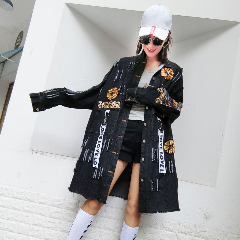 Chaqueta femenina agujero bf floja coreana otoño Harajuku calle personalidad salvaje damas denim desgastado capa de foso