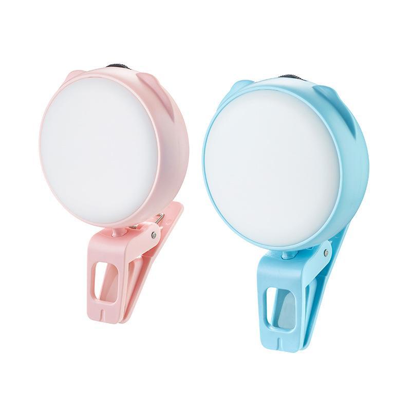 Mini portable 360 clip pivotant selfie LED Light Ring Round Forme USB rechargeable 3 modes Flash Lights pour appareil téléphone