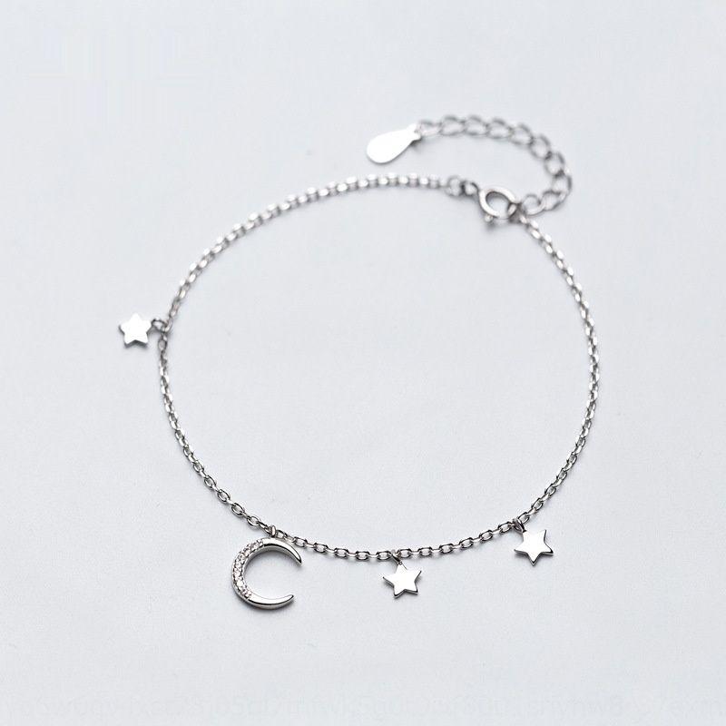 Корейская версия небольшой свежий S925 серебряных женщин с алмазной звездой Луны прекрасный Crescent браслет залива браслет рука ювелирных изделий s1976 dKEiz