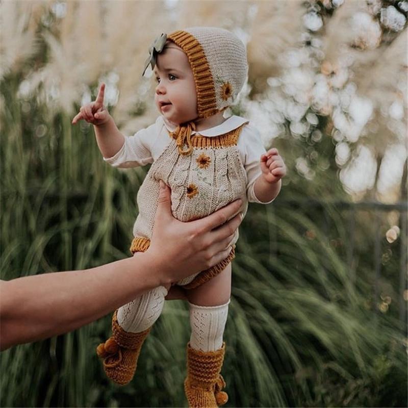 Enkelibb Hermoso Bebé Bebé Otoño Invierno Kniting Mombel Baby Boy Boys and Girls Invierno Ropa Rainbow Daisy Onesie Wild Wawa 201127