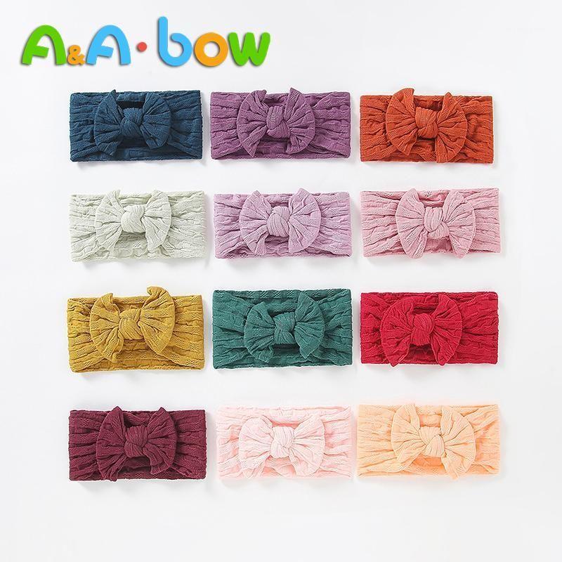 1 unids bebé diadema niñas baby arcos diadema linda turbante flor cabeza de cabeza accesorios para el cabello 27 colores1