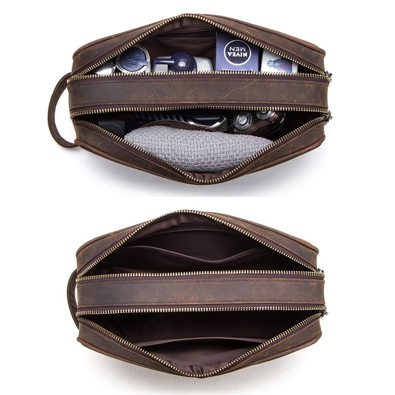 Contact Crazy Horse Cuir Sac cosmétique en cuir pour hommes Voyage de toilette sac grande capacité Sacs de lavage Sacs de maquillage de l'homme Organisateur LJ201008