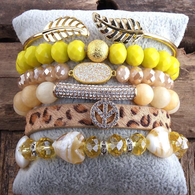 RH Mode Boho Schmuck Zubehörstein Perlen Armband 5 stück Stapel Armband Armreif Für Frieden Böhmische Schmucksachen Geschenk