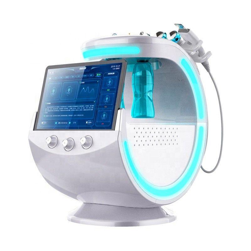 휴대용 7 in 1 Hydra 얼굴 기계 얼음 블루 마술 미러 피부 분석기 RF 얼굴 리프팅 스킨 스크러버 산소 분무기 얼굴 깊은 청소