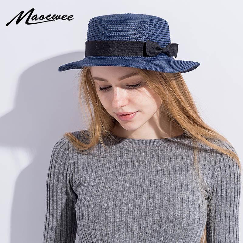 Lady канотье ВС шапки Ribbon Round Flat Top соломы лук галстук пляж шляпа панама летние шляпы для женщин соломы Snapback gorras