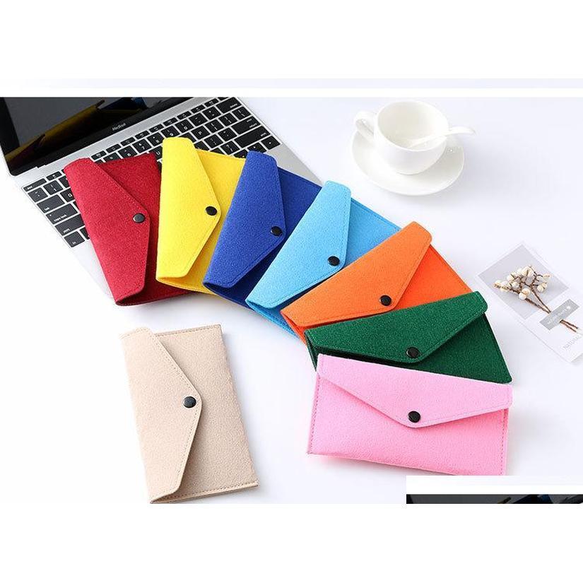 22 colors wholesale felt mobile phone bag case universal cell phone holder envelope locking cloth bag coin purse wallets package ZJMjs