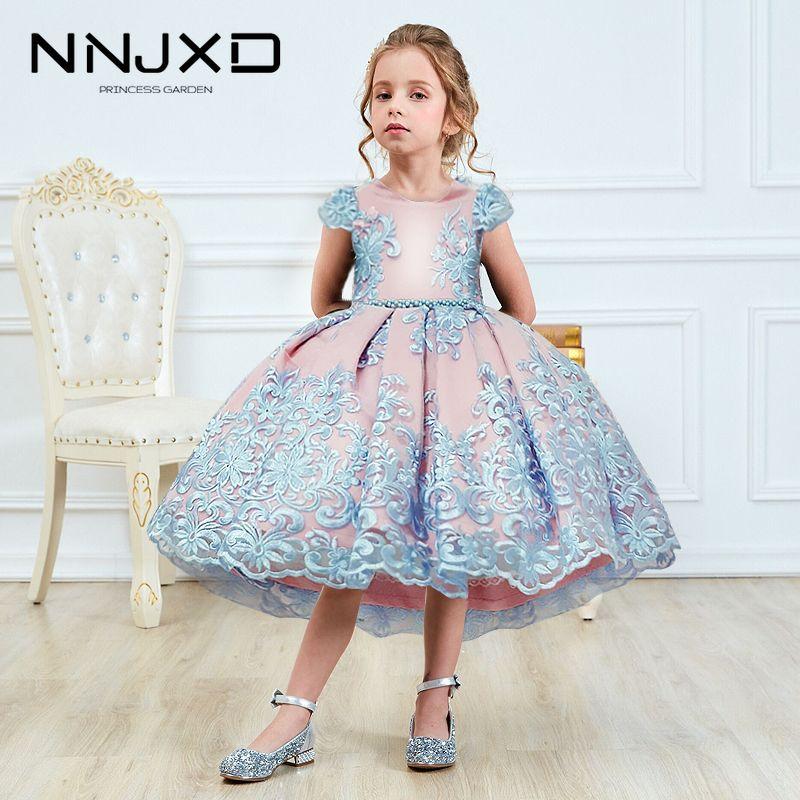 Niñas princesa niños vestidos para niñas tutu encaje flor bordado bola vestido bebé niñas ropa niños vestido de fiesta de boda LJ200822