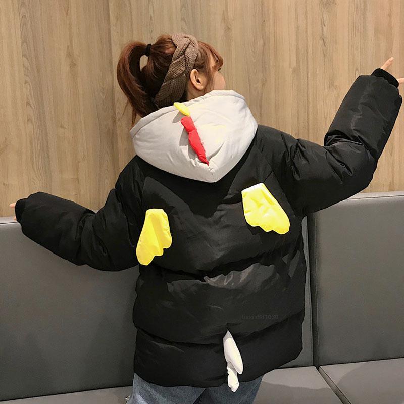 Las mujeres de Kawaii invierno de dibujos animados Parka Mujer capo motor caliente cortocircuito de la chaqueta ocasional más la capa de apresto Femme Harajuku estudiantes My300