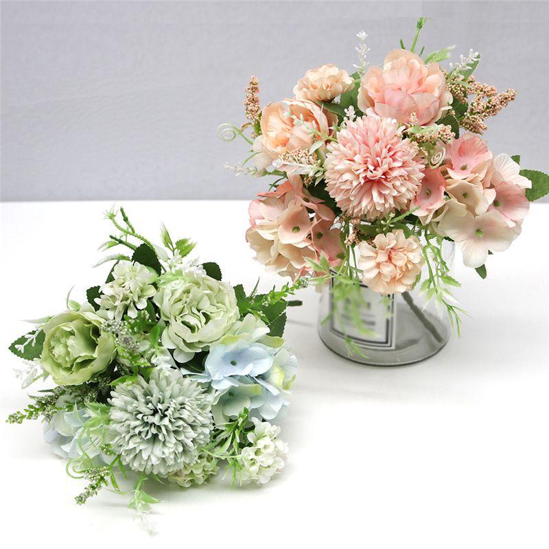 7 فروع الزهور الاصطناعية باقة وهمية الفاوانيا الحرير الكوبية الزفاف اليد زهرة الزفاف المنزل المركزية ديكور JK2101PH