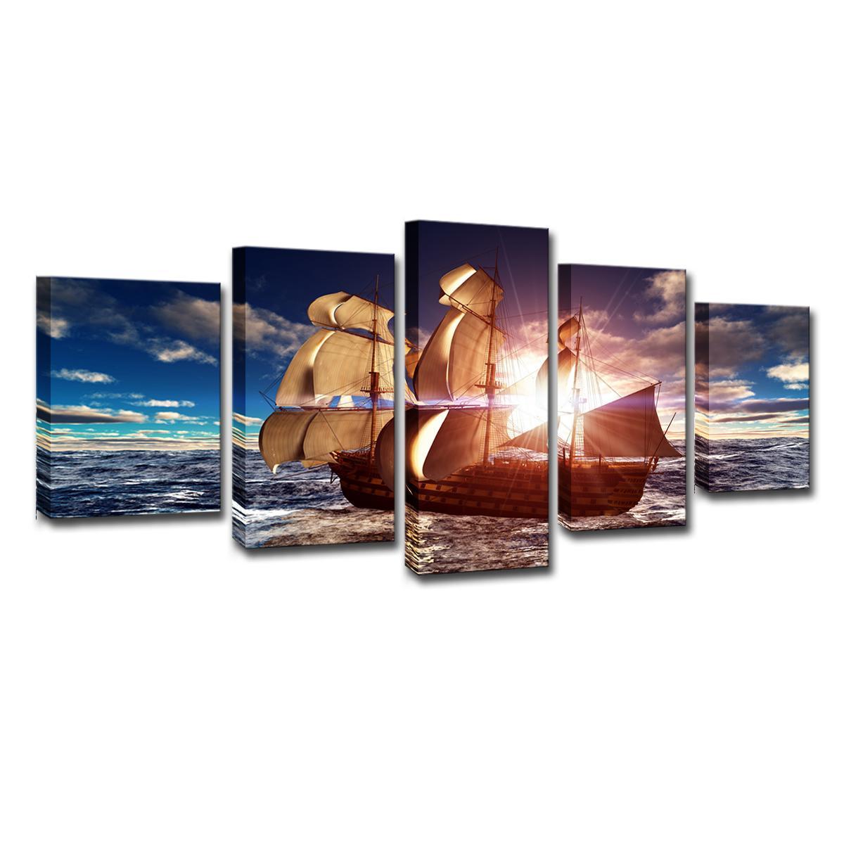 Impresión de la lona Fotos Wall Art Marco de 5 Piezas Sol Velero pintura del paisaje marino del barco de navegación del cartel Decoración de la sala